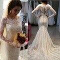 Beautiful Long Sleeve Lace Appliue  Wedding Dress 2017 Lace Zipper Button Back Vestido De Noiva