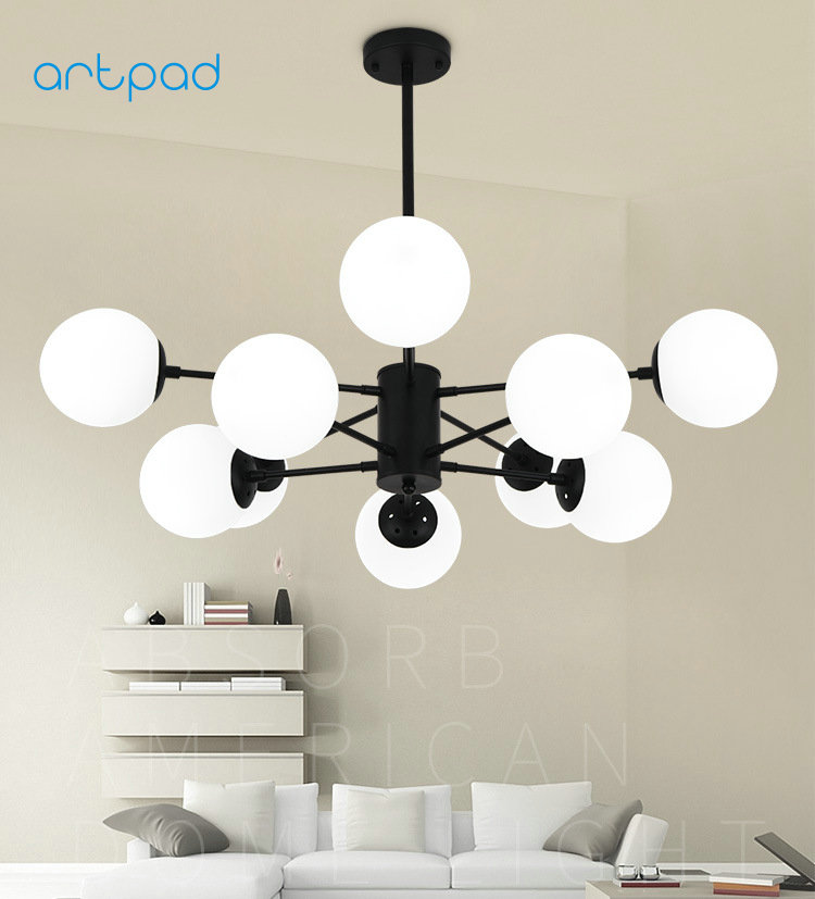 Artpad Northern Europe Mordern Creative Indoor White Glass Pendant Light E27 Bulb Base  Office Bedroom Parlor Lamps