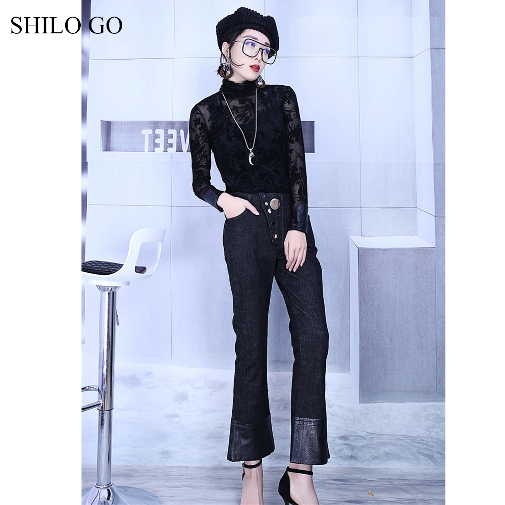 SHILO GO Leather Pants Womens Spring fashion sheepskin genuine leather Pants high waist metal button patchwork small flare jeans - 3