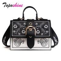 Toposhine Fashion Women Bag Panelled Vintage Girls Bags For Girls Black PU Leather Women Messenger Bags