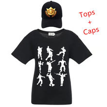 Dab Emote Cotton Short Sleeves O-Neck Cartoon T-Shirts+Caps For Boys Girls Kids T Shirt Battle Royale Boy Clothes 8 to14 Tops(China)
