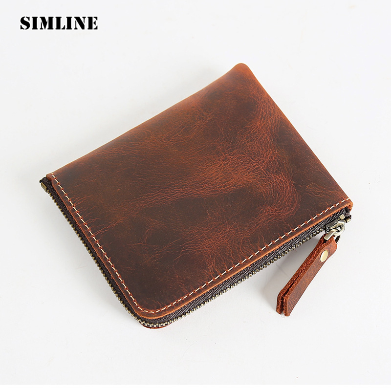 SIMLINE Genuine Leather Men Wallet Men's Vintage Crazy Horse Cowhide Zipper Small Short Slim Wallets Coin Purse Card Holder Man westal genuine leather men wallets leather man short wallet vintage man purse male wallet men s small wallets card holder 8866