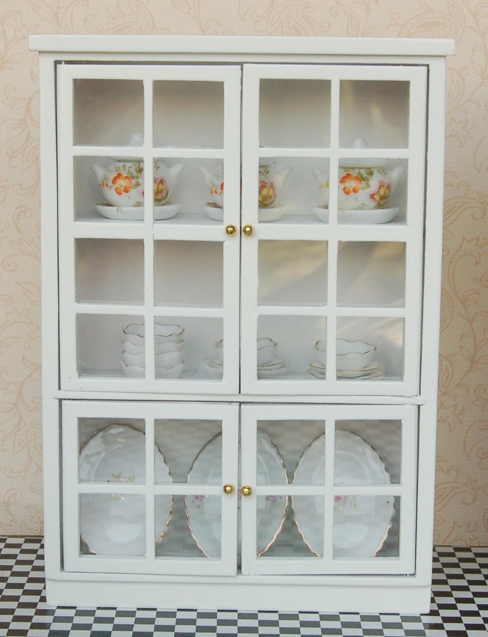 Dolls House White China Curio Display Cabinet Miniature Dining Room Furniture