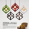 Vintage Cube Pendant Lights Northern Europe Industrial Iron Lightings For Cafe & Bar Retro Edison Loft Pendant Lamps