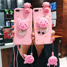 Cute Cartoon Pig Doll Phone Case For iphone 6 6S 7 8 Plus X XS MAX XR Soft Silicone Pink Cases Thin Matte Back Cover цена и фото