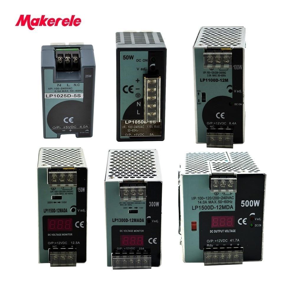 LP Series Din Rail single output switching power supply 25W 50W 100W 150W 300W 500W Digital Display 12/24V ac dc with Ce Approve