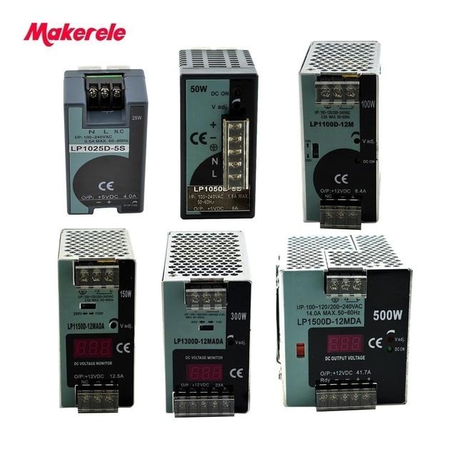 LP Serisi Din Rail tek çıkış anahtarlama güç kaynağı 25 W 50 W 100 W 150 W 300 W 500 W Dijital Ekran 12/24 V ac dc Ce ile onaylaması