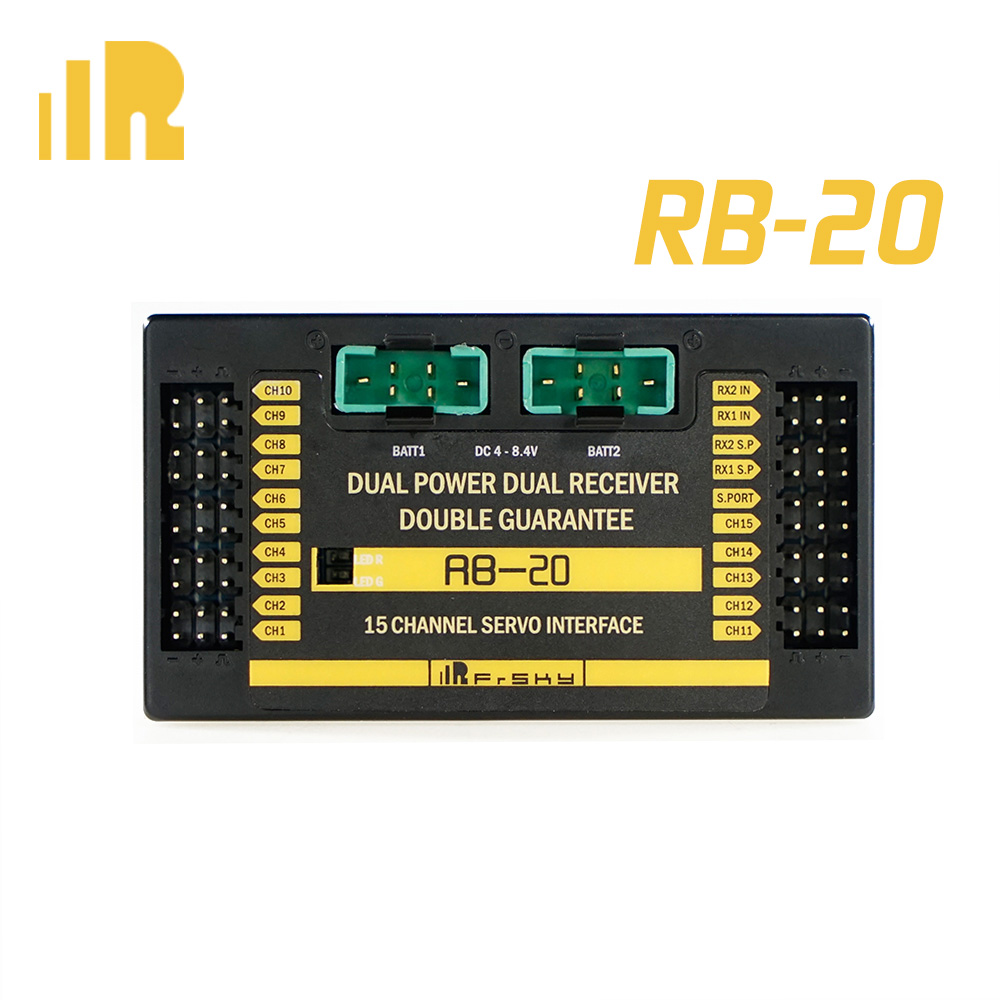 Frsky RB 20 RB20 Dual Power Dual Receiver Telemetry Auto switch amp Maximum Current Output Up