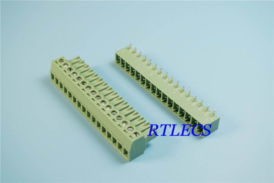 50Sets 16 Position 3 81 mm 0 150 Terminal Block Header Male Pins Shrouded Right Angle