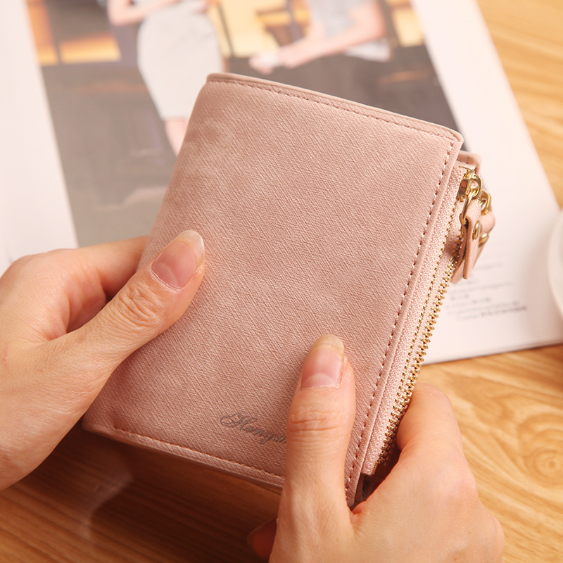 Fashion Candy Color Small Wallet PU Leather Coin Purse Short Female Zipper Clutch Bag Coin Purse Credit Card Holders For Girl