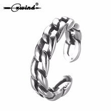 Cxwind Vintage Cuban Link Chain Ring Retro Color Adjustable Chunky Curb Ring Link Rings For Men Biker Punk anillos mujer Jewelry(China)