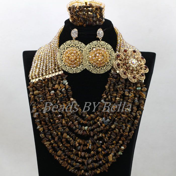 Brown Stone Beads 2017 Latest Fashion African Costume Jewelry Sets Nigerian Wedding New Lace Jewelry Sets Free Shipping ABK756 new sky blue fashion natural stone fashionable african beads jewelry sets jewelry for women free shipping jb123
