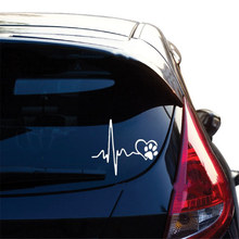 Cardiogram Of Love Dog Paw Print Funny Car Stickers Auto Tank Reflective Vinyl Car Accessories Creative Black/White Decal