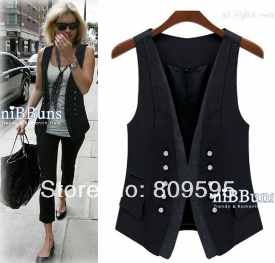 Spring fashion handsome lady vest ,  Plus size women suit vest , size S-XXXL