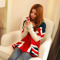 Winter 2015 Large Size Loose Long Sleeve Thick Knit Pullover Sweaters Women England Flag Bat Sleeve Outerwear Sueteres YB176