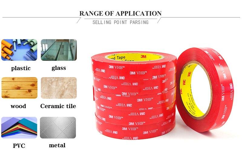 25,4 мм* 4,6 м(1 дюйм* 5yd) прозрачная акриловая пена Водонепроницаемая двухсторонняя лента 3 м 4910 VHB двухсторонняя акриловая лента Толщина 1 мм