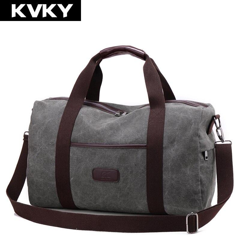 купить KVKY New Vintage Canvas Men Travel Bags Large Capacity Handbags Carry on Luggage bags Men Duffel bag Multifunctional Travel Tote недорого