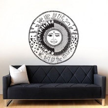 Vinyl Crescent Sun And Moon Ethnic Sunshine Wall Decal Art Decor Sticker Bohemian Bedroom Mural WY-12