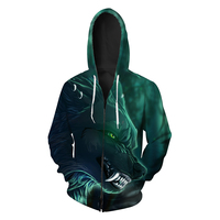 European Size 2018 New Green Ferocious Wolf Hoodies 3D 6 Patterns Hawl Mens Workout Jacket Hoodie With Zipper