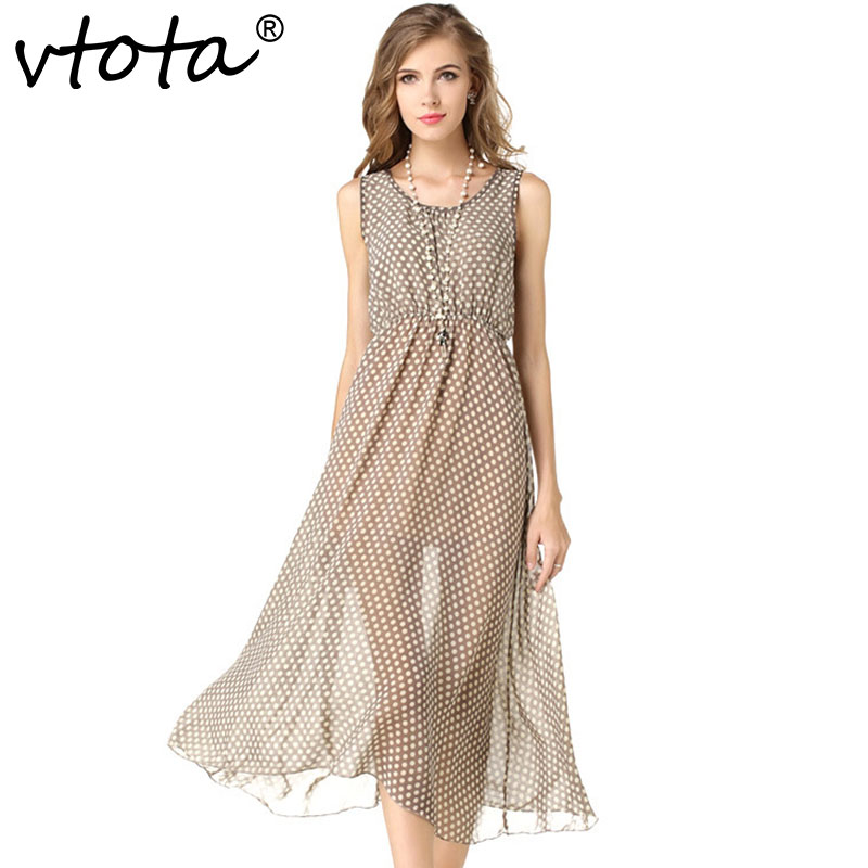 VTOTA Women Long Chiffon Dress Fashion Sleeveless 2018 O-Neck Mid-Calf Dress Tank Dot Women Sleeveless Bohemian Beach Dress A39