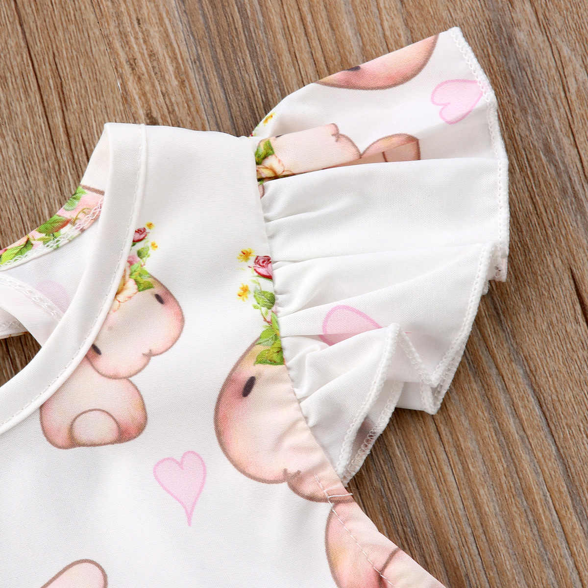 9dc621721d3 ... Newborn Baby Girls Bunny Floral Bodysuit Kids Summer O-Neck Jumpsuit  Outfit Infant Flying Sleeve ...