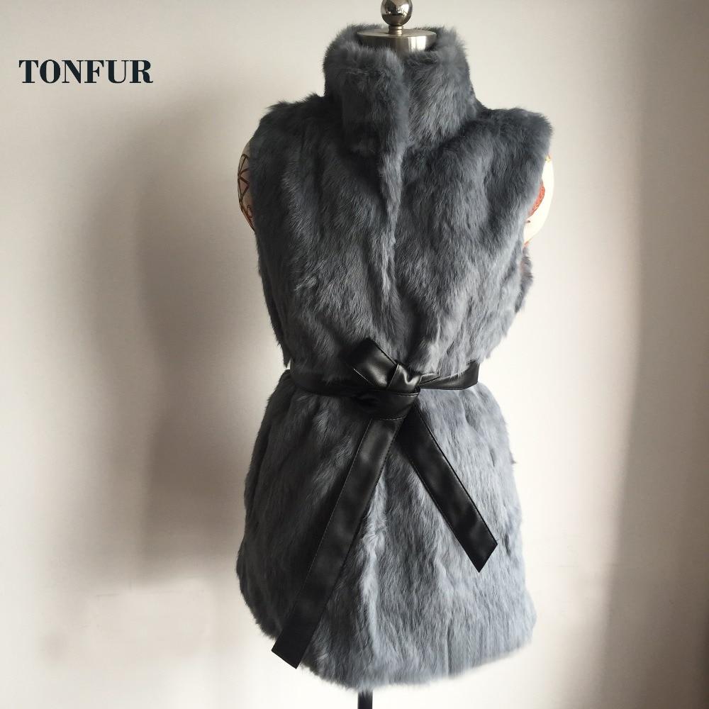 Brand Fur Original Pure Rabbit Fur Vest tsr411 Real Rabbit Fur Gilet with Free Black Belt and Warm Keep From Wind Collar tsr411