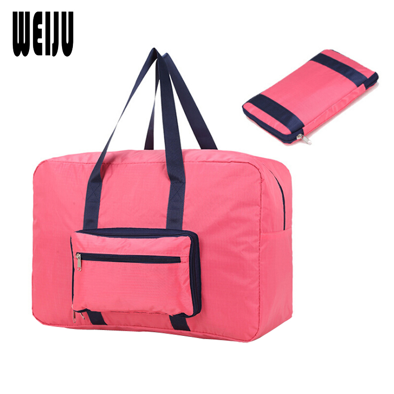 WEIJU New 2017 Folding Travel Bag Large Capacity Solid Color Portable Womens Tote Bag Travel Bags Women bolsa de viagem