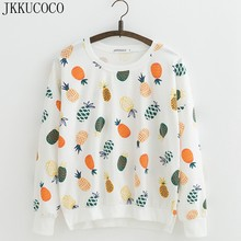 JKKUCOCO New Women Sweatshirt colors Pineapple Printed Hoodies Batwing Sleeve Loose Casual Sweatshirts O-neck Pullovers S M L(China)