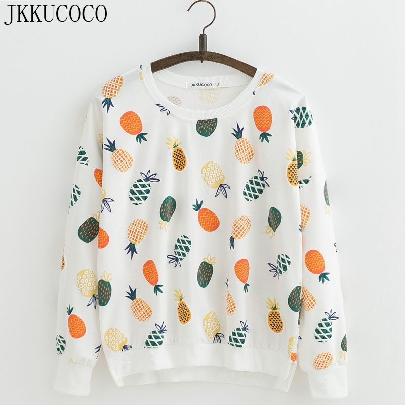 JKKUCOCO nouveau femmes sweat couleurs ananas sweats à capuche imprimés manches chauve-souris lâche pulls décontractés o-cou pulls S M L