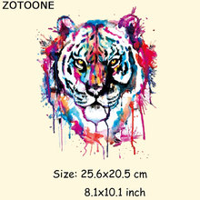 ZOTOONE Colorful Tiger Patches Iron On Transfers Patch For Clothes 20*25cm A Washable Ironing Stickers Print T-shirt Dresses