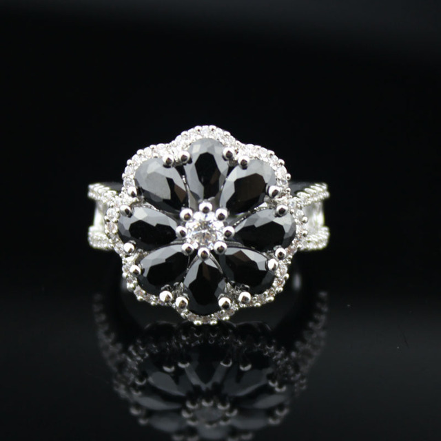 promotion big cut black crystal rings hollow out flower wedding rings quality black cubic zirconia - Flower Wedding Rings