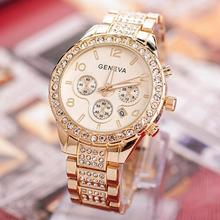 Geneva Luxury Women's Rhinestone Stainless Steel Band Quartz Analog Wrist Watch ladies watch relogio reloj men women geneva stainless steel band analog roman numerals quartz wrist watch