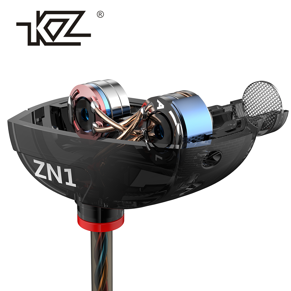 KZ ZN1 Original Kopfhörer Mini Dual Driver Kopfhörer Extra Bass Turbo Breite In-ohr Kopfhörer fone de ouvido auriculares
