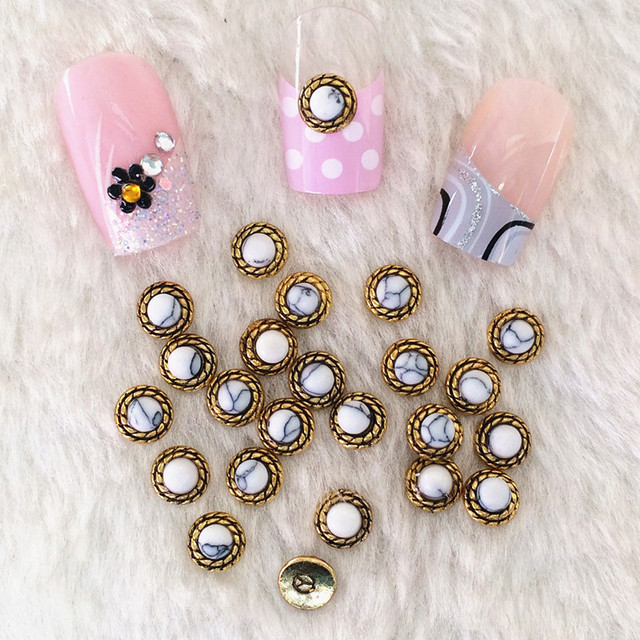 10pcs/bag Japan 3D Nail Art Deco Metal Nail Sticker Retro Gold White ...
