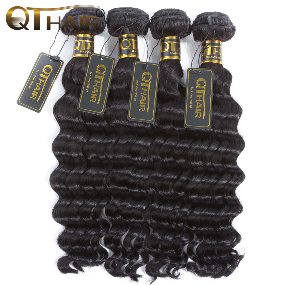 QT Hair Products Loose Deep More Wave Peruvian Hair Weave Bundles 4pc/lot Human Hair Bun ...