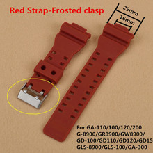 New Red 16mm Rubber Watchbands Men Black Sport Diving Silicone Watch Strap Band Metal Buckle For g-shock Accessories +Tool