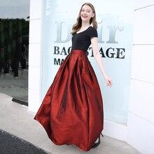 2018 Spring Summer Floor Length Vintage Zipper Skirts Womens Elastic High Waist Solid Skirt Long Female Jupe Longue