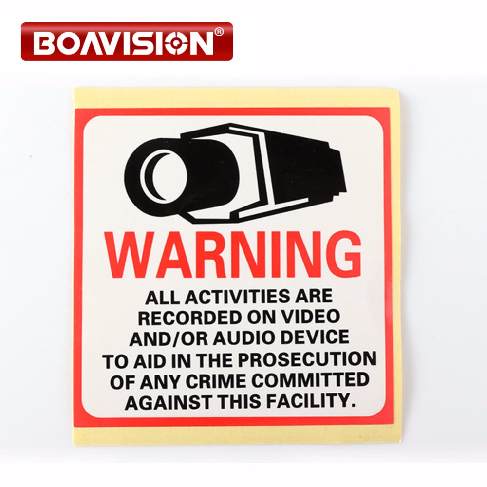 20Pcs Waterproof Sunscreen PVC Decal Sticker Warning Board Monitored By Video Camera 80*80MM CCTV Security Camera Decal Signs 24 hours cctv security warning board transparent black multi colored