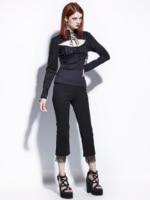 Gothic Blouse Black Women Autumn Lace Up Straps Retro Vintage Hollow Casual Rock Fashion Shirt Goth