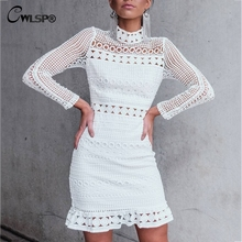 CWLSP Mock neck Full Sleeve Women White Lace Dresses White Hollow out Mini dress 2018 Party vestidos mujer robe femme QL3514