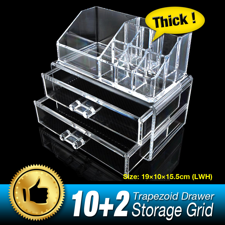 NEW 12 Gird 3 Layers Drawers Organizer Storage Box jewelry Make up Case Lipstick Storage Holder Skin Care Clear Acrylic EQC366