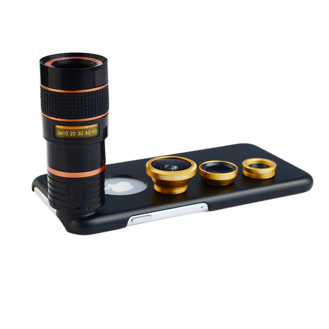 8X Telephoto Zoom Lens + Fisheye Fish Eye+ Wide Angle+ Macro Camera Lens Kit with case for apple iphone 6/6S Mobile Phone Lenses 1