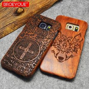 Image 4 - Volle Holz Fall Für Samsung Galaxy S6 S7 S8 S9 Rand Plus 100% Retro Natur Bambus Fall Für Samsung Galaxy hinweis 8 9 Für iPhone XR