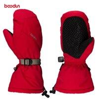 Boodun Velvet Warm Waterproof Winter Ski Gloves Women Men Skiing Snowboard Gloves For Outdoor Sports Snowmobile