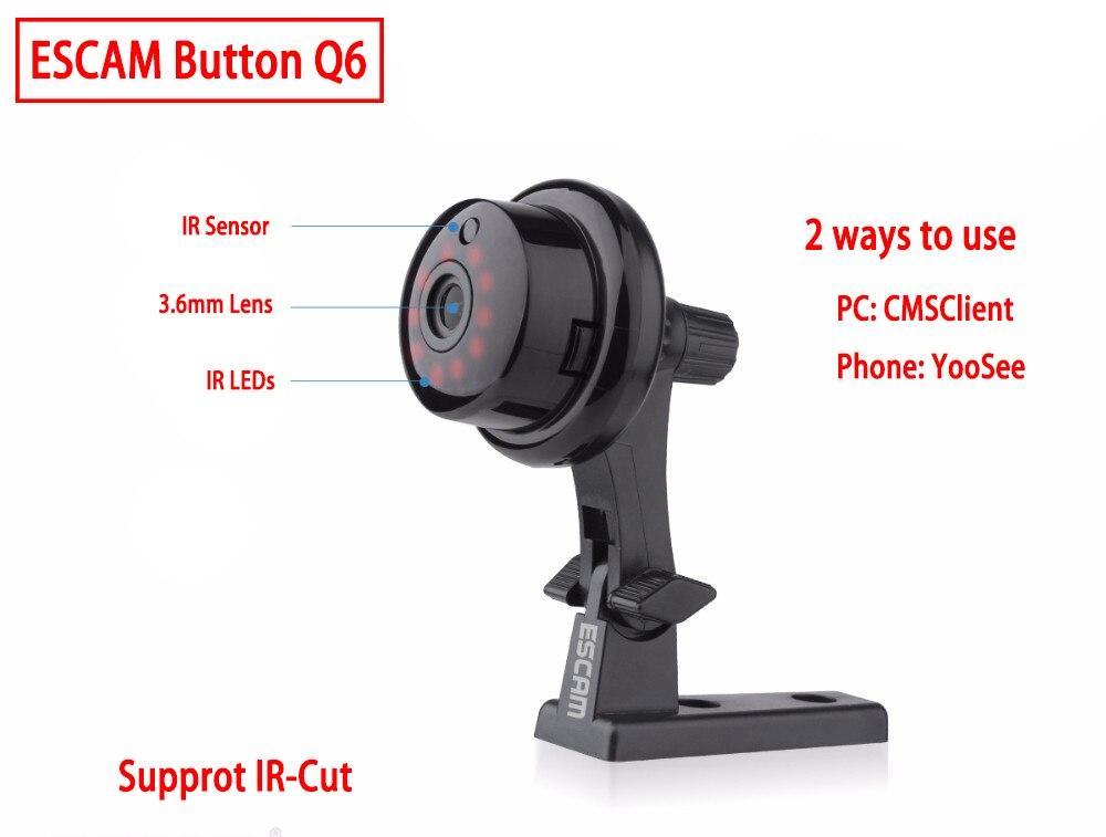 ESCAM Q6 1.0MP 720 P Bouton Mini Caméra Sans Fil Wifi Deux voies voix Intérieure IR-CUT Nuit Vision CCTV Accueil de sécurité IP Caméra Wi-fi