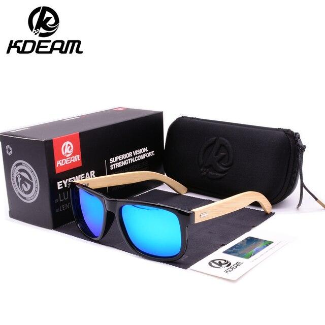 Bamboo Legs Polarized Sunglasses for Men 2019 KDEAM Luxury Brand Sunglasses Fashion Travel Driving Mirror Male Eyewear KD8805