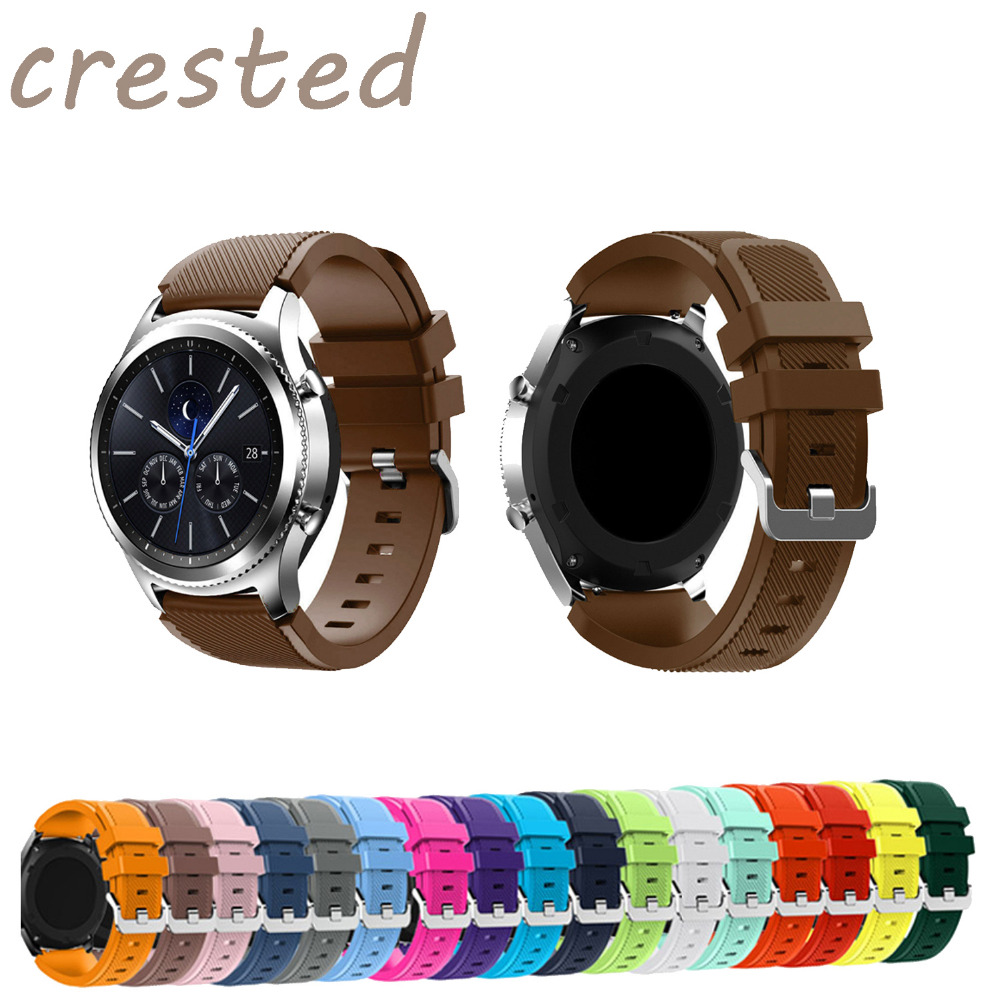 CRESTED 22mm Sports Silicone band for Samsung Gear S3 Frontier/Classic strap smart watch wrist bracelet replacement watch band large small size sport silicone replacement watch wrist strap bands for samsung gear fit 2 r360 watch band conjoined watch band