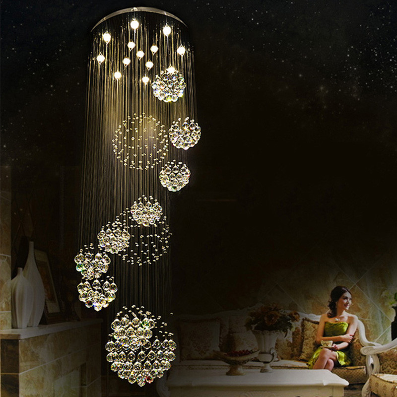 Free Shipping Large Scale New Modern K9 LED Crystal