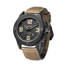 Ananke Business Military Sport Watches Genuine Leather Wristwatches Male Waterproof Casual Quartz Numeral Wristwatches with Date