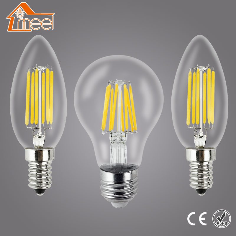 все цены на LED Lamp Edison Bulb E27 E14 220V 240V LED Filament Light Lamp 2W 4W 6W 8W Vintage Antique Retro Candle Glass Lampada Bombillas